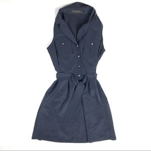 The Limited Shirt Dress Tie Front Navy Collared
